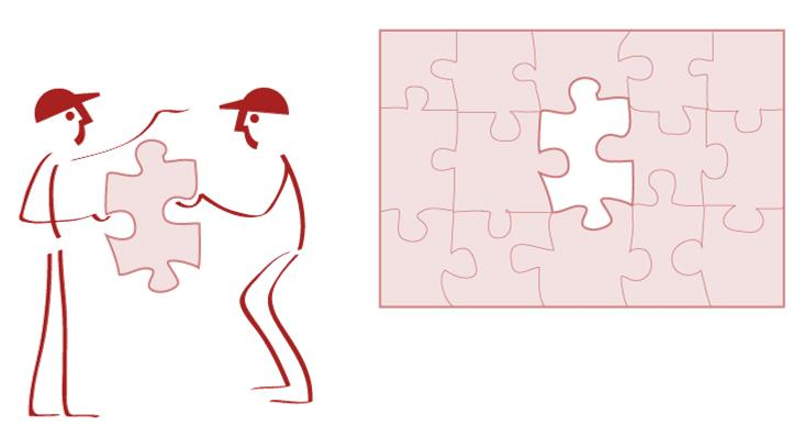 Lean Managament System - Performance. Lean Leapers handing puzzle parts to each other