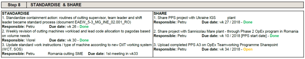 A3 Practical Problem Solving - Step 8 Standardise & Share example